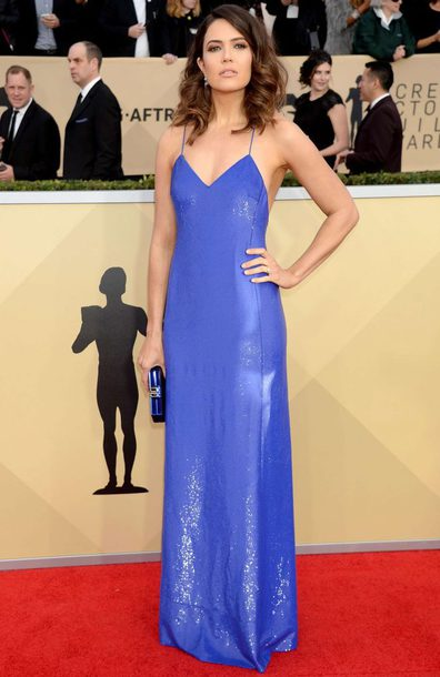 dress blue blue dress maxi dress gown prom dress sag awards red carpet dress mandy moore