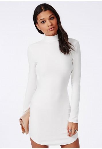 Missguided - Curve Hem Mini Dress White