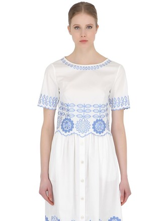 top embroidered cotton white blue