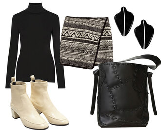 look de pernille blogger tribal pattern mid heel boots tote bag black bag
