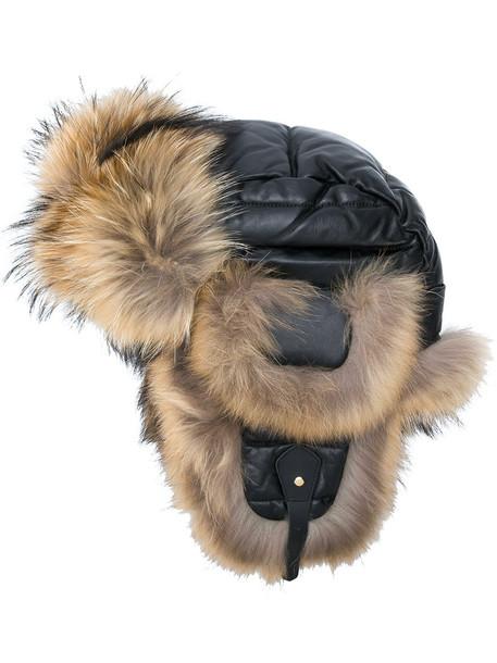 Liska fur fox women quilted hat leather brown