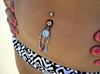 jewels dreamcatcher body chain belly ring red blue white summer