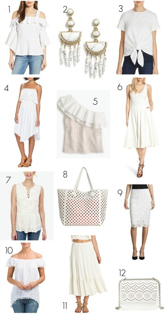 pennypincherfashion blogger blouse jewels top sweater dress bag skirt all white everything spring outfits white dress white top summer outfits