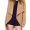 Camel lapel long sleeve woolen coat -shein(sheinside)