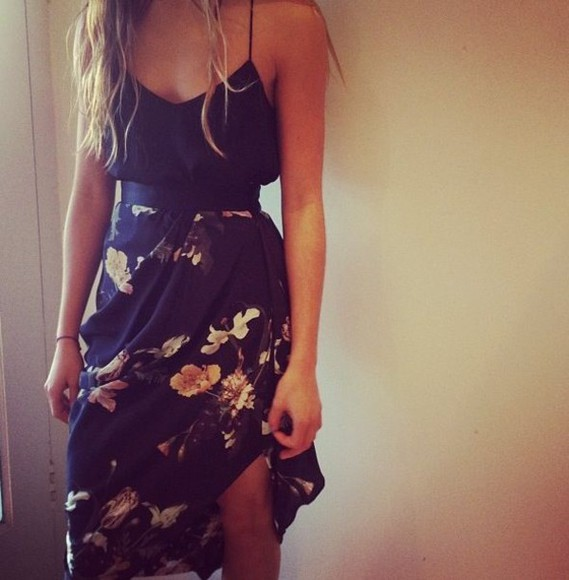 dress floral flower dress floral dress summertime summer dress little black dress spaghetti strap dress maxi maxi dress