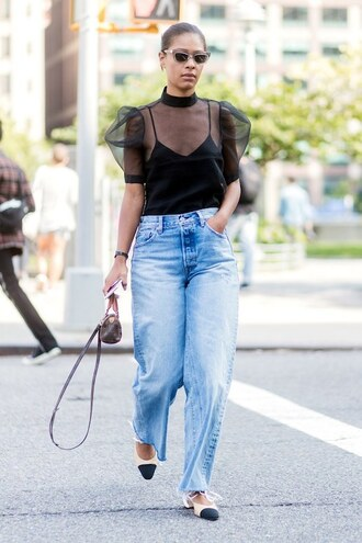 top denim jeans shoes flats black top bag sunglasses