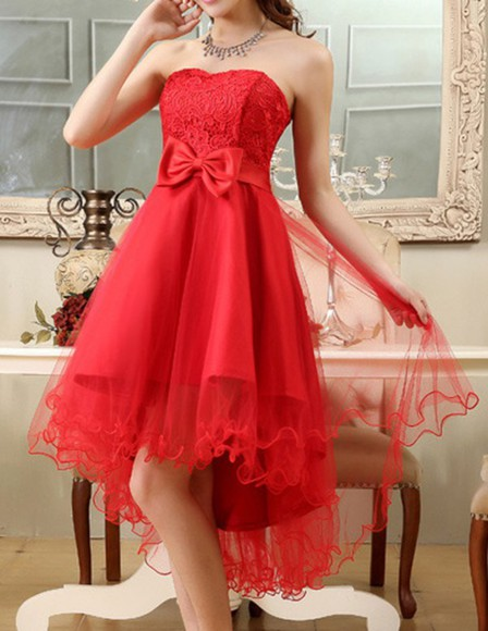 red dress high-low dresses lace dress bows