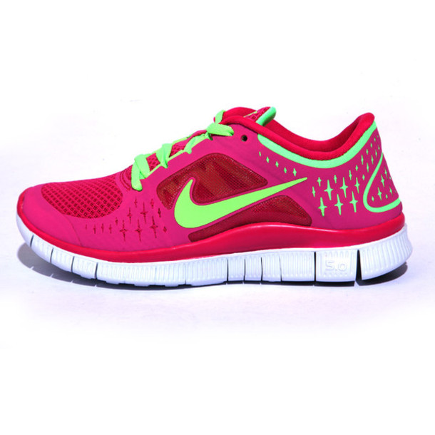 shoes nike free run 5 pink green running