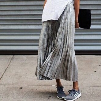 adidas sneakers adidas shoes shoes skirt grey black white plaid skirt long skirt flowy skater skirt classy clothes outfit indie indie boho metallic stella wants to die blogger silver skirt midi skirt blosue