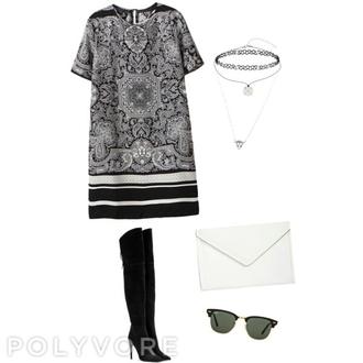 dress black dress kylie jenner dress boots black choker necklace clutch jewels