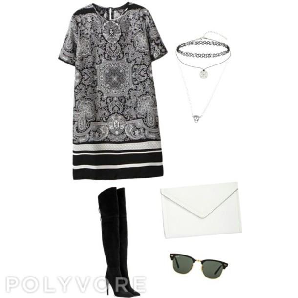 dress black dress kylie jenner dress black boots choker necklace clutch jewels
