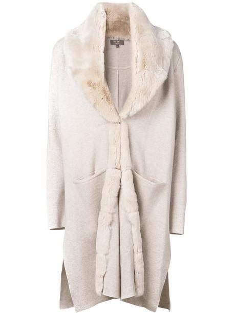 N.Peal coat fur collar coat fur women nude