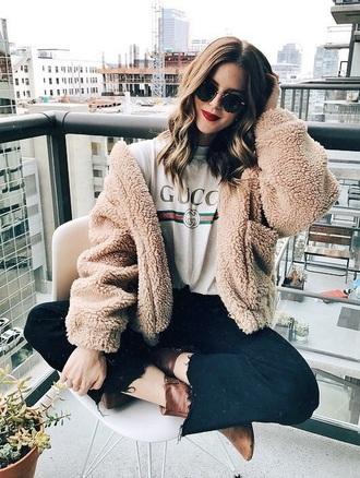 shirt emily mohsie coat faux faux fur faux fur jacket fur jacket fuzzy jacket gucci