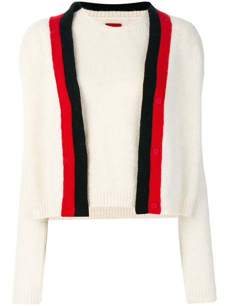 Moncler Gamme Rouge - two piece knitted top - women - Polyamide/Cashmere/Wool/Virgin Wool - 44, White, Polyamide/Cashmere/Wool/Virgin Wool