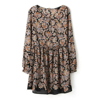 floral dress pleated mini dress flowy boho vintage clothes