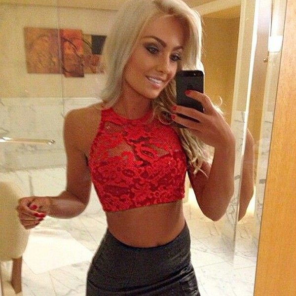 2cdb11e5474 Red Lace Bralette   Halter Bra   Halter Top   Lace Top   Sheer Lace ...