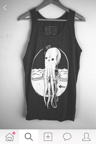 blouse goth shirt top black octopus gothic lolita octopus .