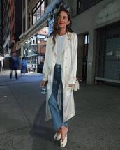 coat,trench coat,champagne,silk,white t-shirt,jeans,mules,earrings,shoulder bag