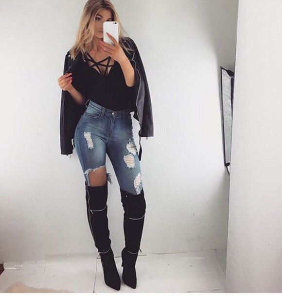 shoes over the knee boots black cute outfits style