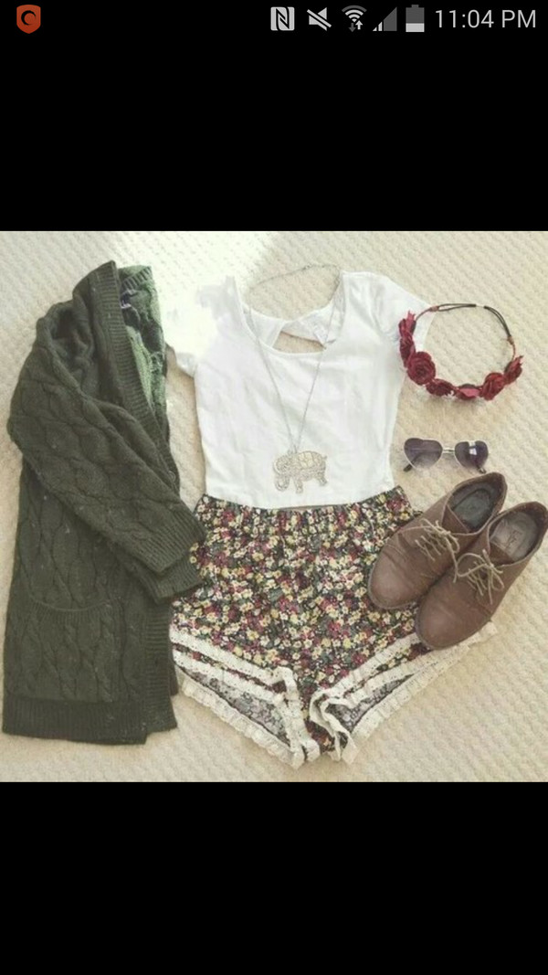 shorts sweater shoes blouse cardigan