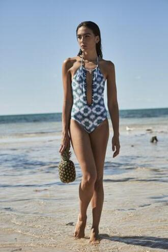 swimwear capittana blue crochet halter neck one piece open back white bikiniluxe