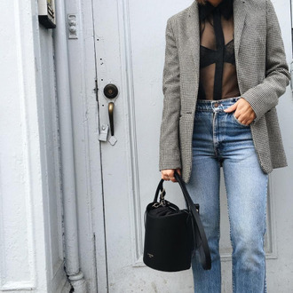 jacket tumblr blazer grey blazer printed blazer denim jeans blue jeans top black top see through bag black bag bucket bag transparent shirt black shirt fall outfits office outfits