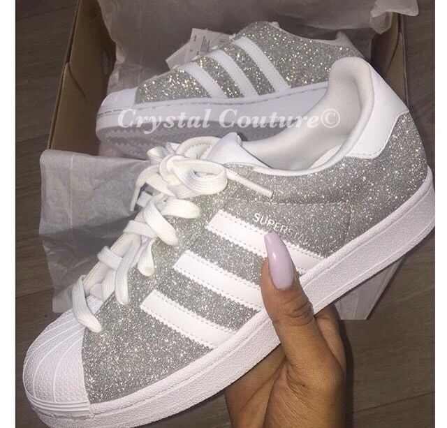 7cffe6ece7f3 Glitter Adidas Superstars Sz s UK 3
