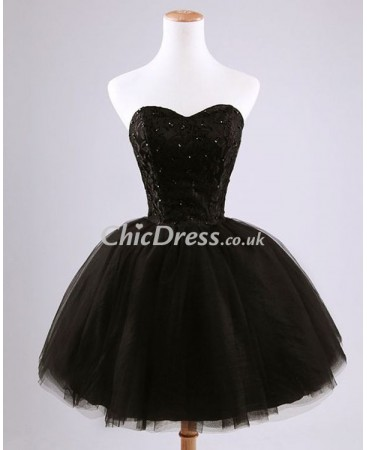 Tulle Black Sweetheart Short Ball Gown Cocktail Dress with Lace Beaded Bodice CC-0002
