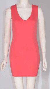 dress,womens sleeveless back neck zip vneck bodycon short mini dress coral