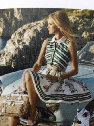 dress designer colorful floral skirt shirt button up belt brand