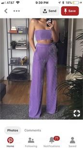 jumpsuit,purple velvet two piece,pants