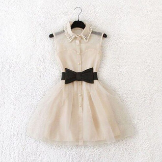 dress black bow see through dress white dress pearl poofy short dress lace white pastel black