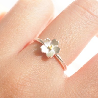 jewels summer summer handcraft flower ring flowers ring flowers floral knuckle ring ring armor ring engagement ring silver ring 925 silver bracelet 925 sterling silver gift ideas girlfriend gift best friend ring cherry blossom simple ring