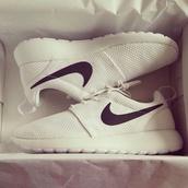 shoes,nike roshe run,nike roshe runs white,nike roshes floral,white shoes,white,black,running shoes,tumblr,sports shoes,white and black