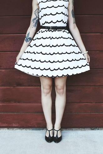 dress black and white white black striped dress belt a-line dresses flowy vintage pin up