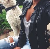 jacket,leather,jeans,ripped jeans,fashion,dog,cute outfits,outfit,t-shirt,grey t-shirt,grass,selfie,leather jacket