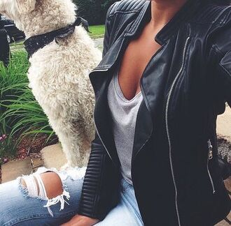 jacket leather jeans ripped jeans fashion dog cute outfits t-shirt outfit grey t-shirt grass selfie leather jacket