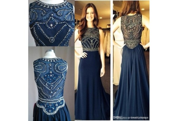 dress real picture dress beaded prom dress long prom dress navy dress 2014 homecoming dress