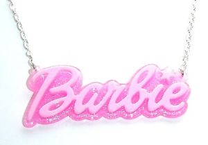CuTe PiNK GLiTTeRy BaRBie NaMe PeNDaNT NeCKLaCe KiTScH KaWaii | eBay
