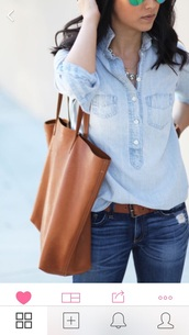 bag,brown bag,blouse,shirt,denim shirt,buttons till bust,kurtha,blue,mandarin collar