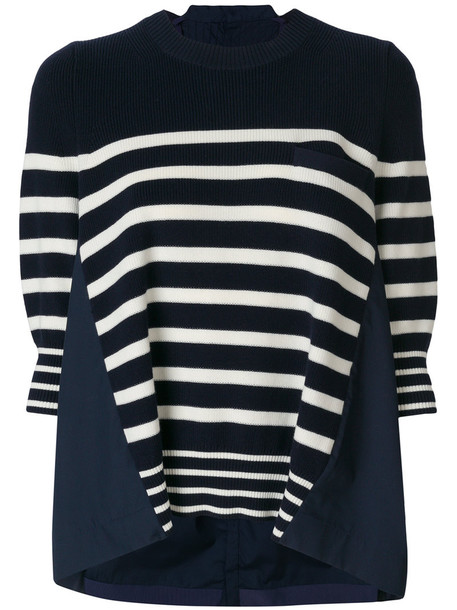 Sacai sweater oversized women cotton blue
