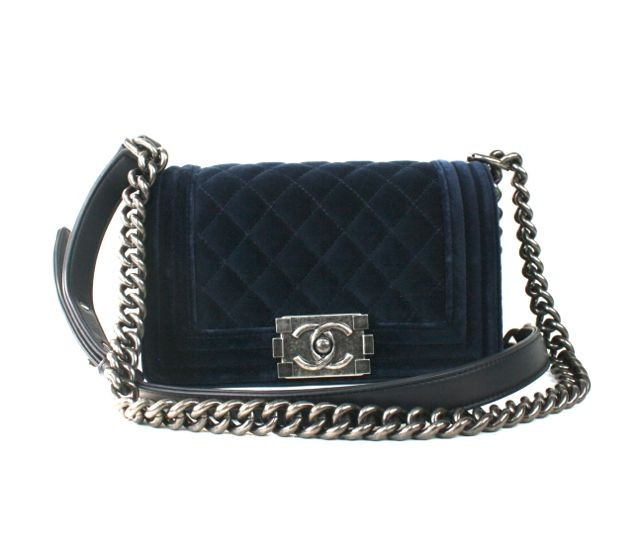 Chanel Blue Velvet Boy Shoulder Bag | Portero Luxury