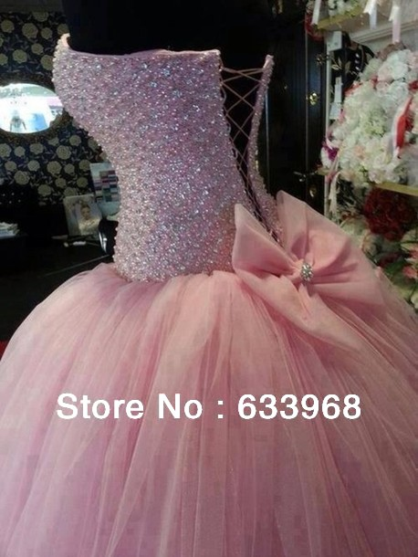 Aliexpress.com : Buy Proncess Sweetheart Ball Gown Sweep Train Crystal Beaded With Bow Lace Up Back Pink Tulle Wedding Dresses 2014 New Arrival from Reliable crystal beads cheap suppliers on Bridal & Prom Capital