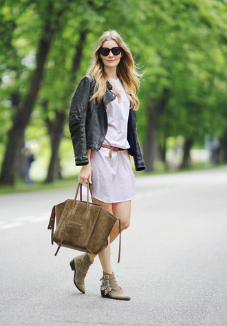 passions for fashion blogger shirt dress leather jacket suede bag celine bag ankle boots