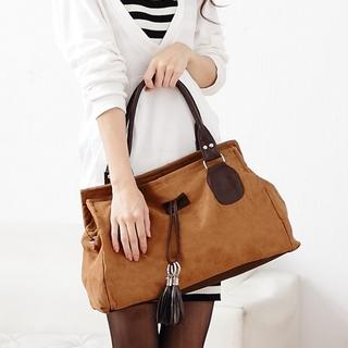 Faux-Suede Tasseled Shoulder Bag, Light Brown , One Size - Miss Sweety   YESSTYLE