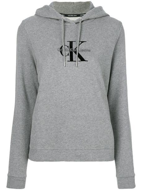 Ck Jeans hoodie women drawstring cotton grey sweater