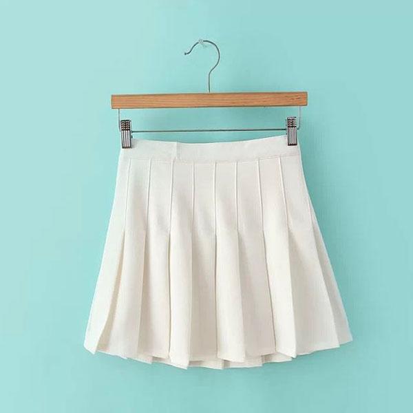 2014 trends womens slim thin high waist pleated tennis