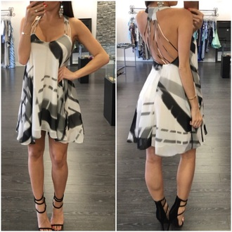 dress black white mini dress flowy dress open back dresses criss cross