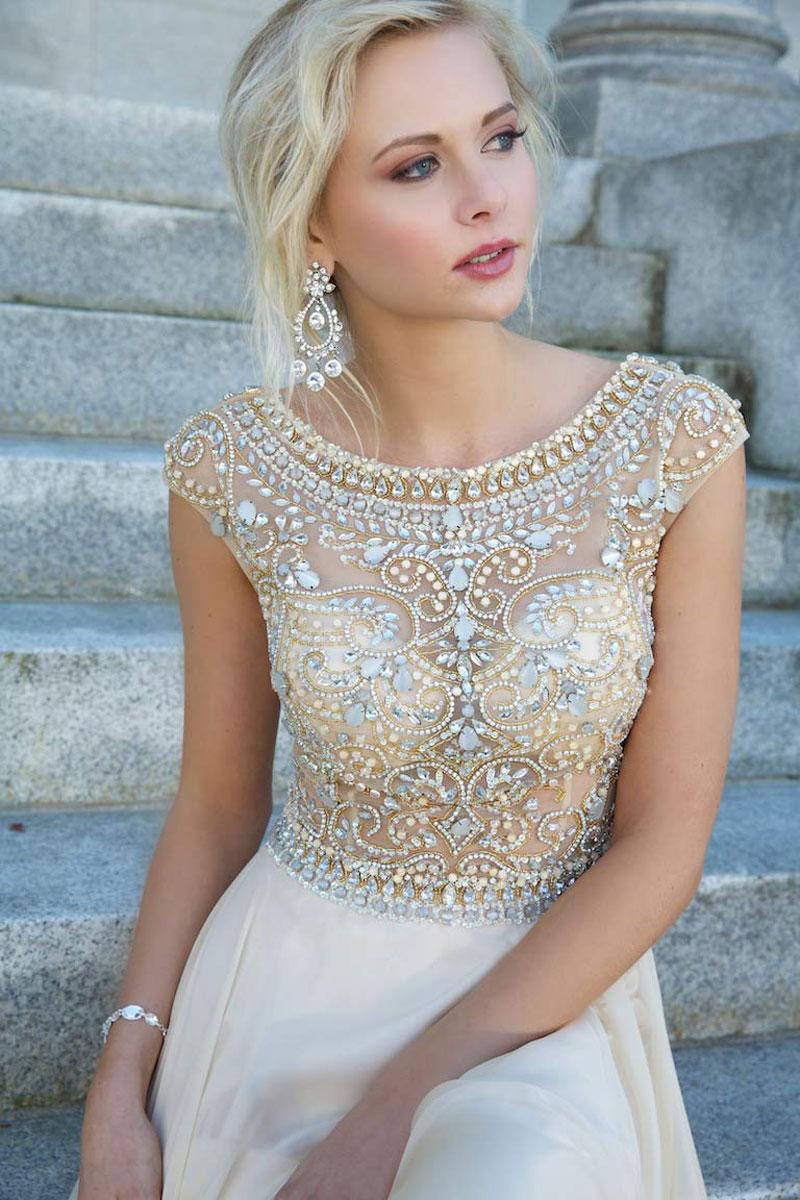 Line floor length bateau zipper natural waist cap sleeve prom dress