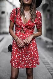 dress,tumblr,red dress,red mini dress,mini dress,summer dress,floral,floral dress,necklace,jewels,jewelry,accessories,Accessory,bracelets